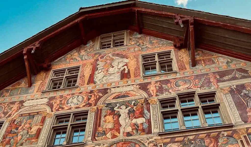 Zum Ritter Haus in Schaffhauusen, farbig.